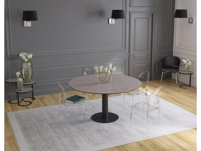 Table 160 x 100 ARLEQUIN panneaux verres TAUPE
