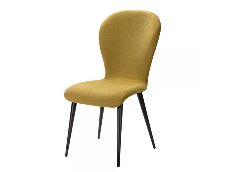 Chaise chêne traverse horizontale assise tissu couleur gris – OTTAWA